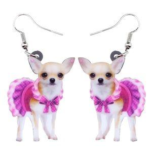 Acrylic Pink Dress Chihuahua Dog Earrings